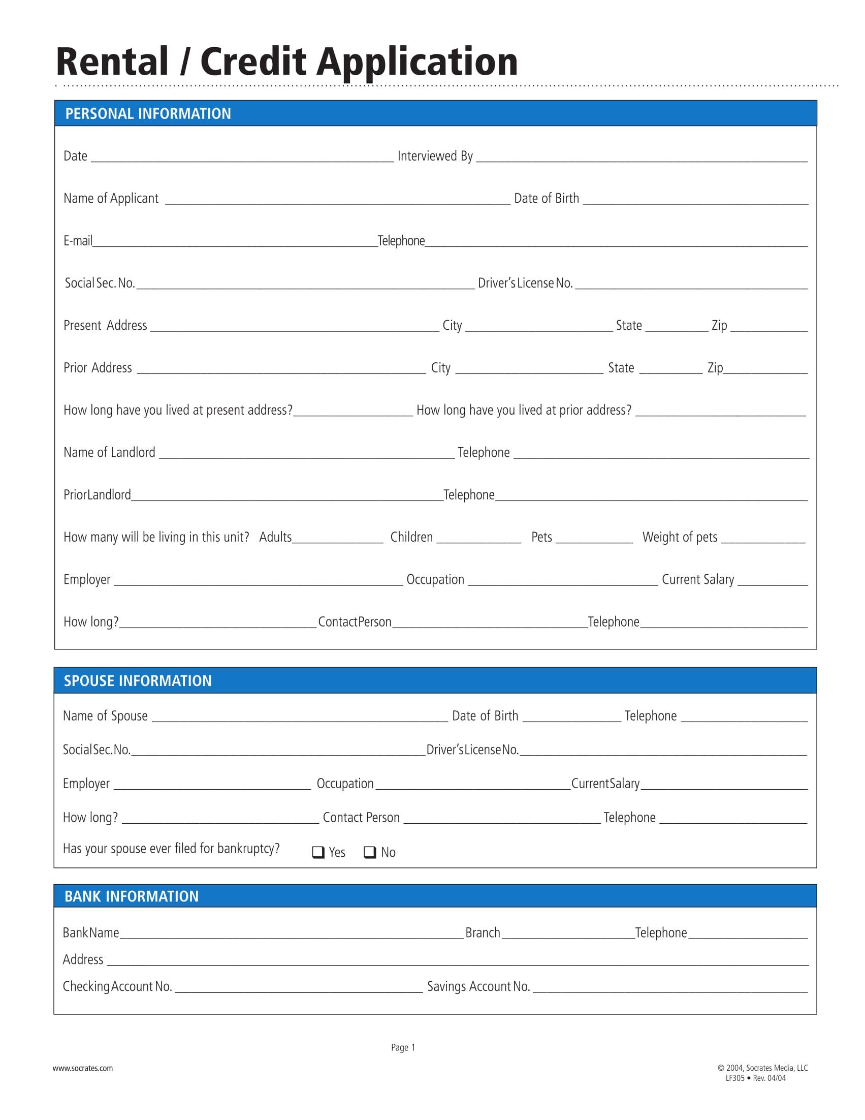 rental or credit application report 1