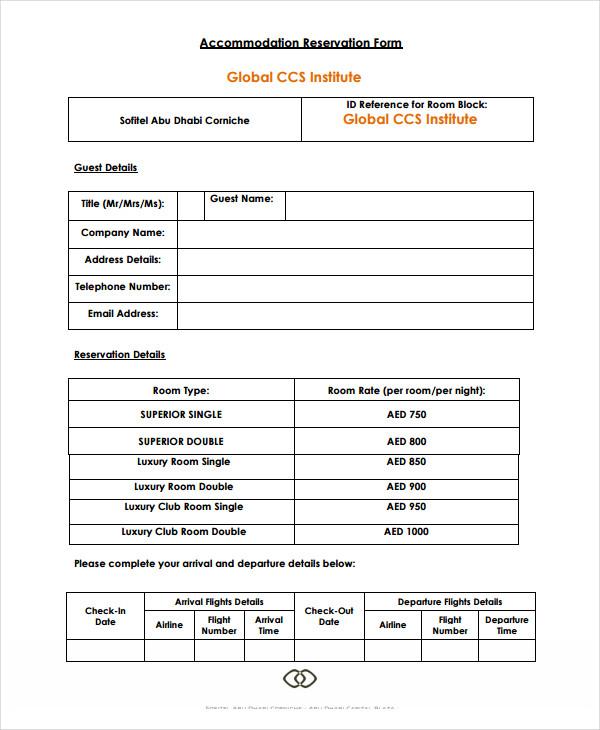 restaurant accomadtion reservation form
