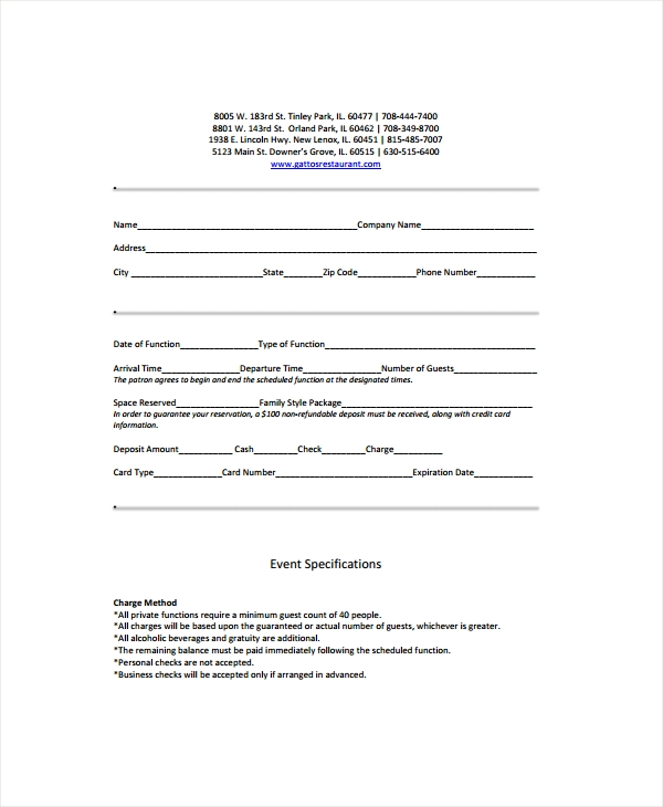 restaurant bar contract form
