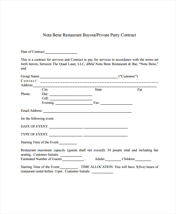 restaurant buyout contract form
