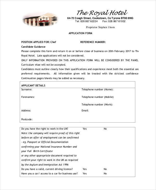 restaurant chef application form