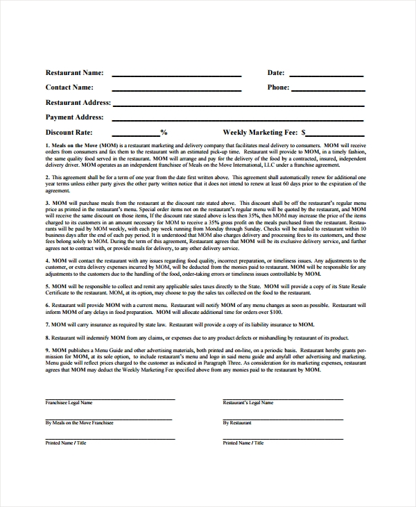 restaurant contract form sample