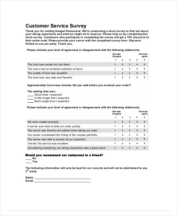 Sample Restaurant Survey Forms  Pdf