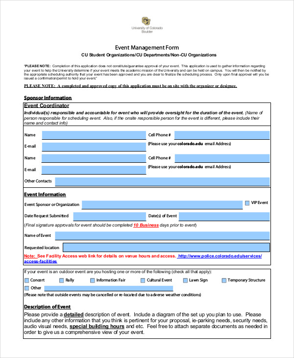 restaurant event management form
