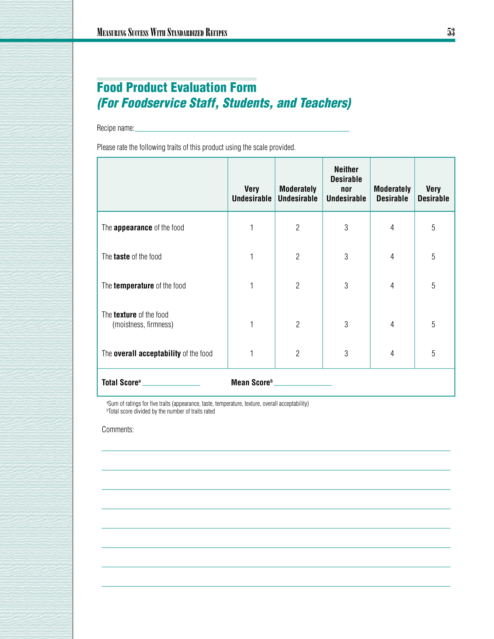restaurant food product evaluation form 03
