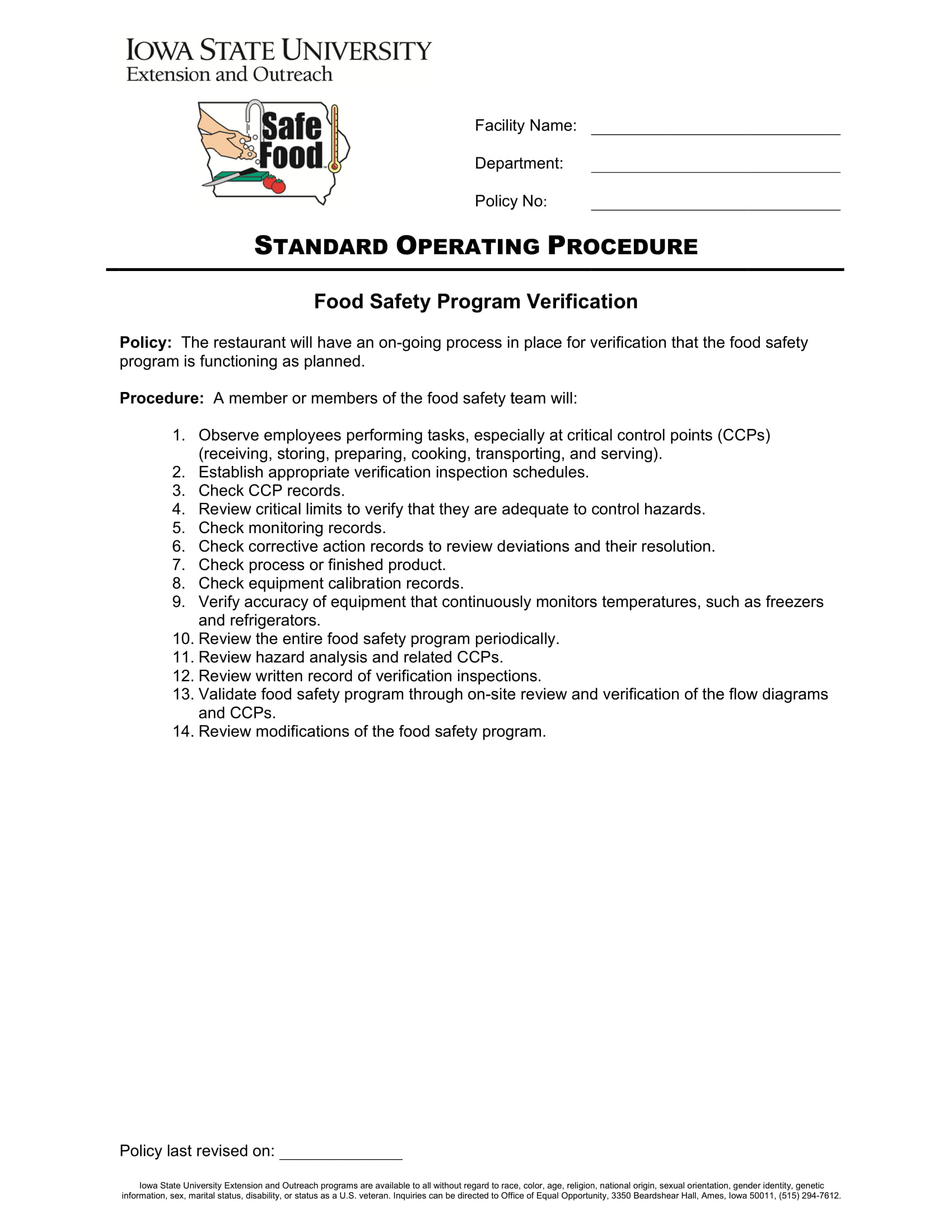 restaurant food safety operation checklist 1