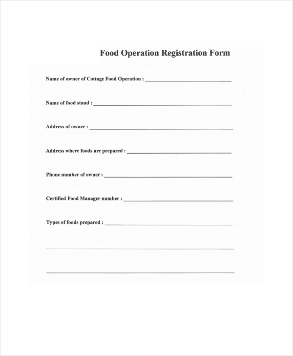 restaurant operation registration form