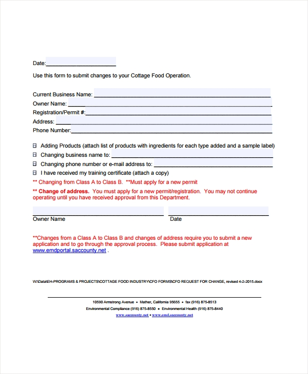 restaurant operations request form