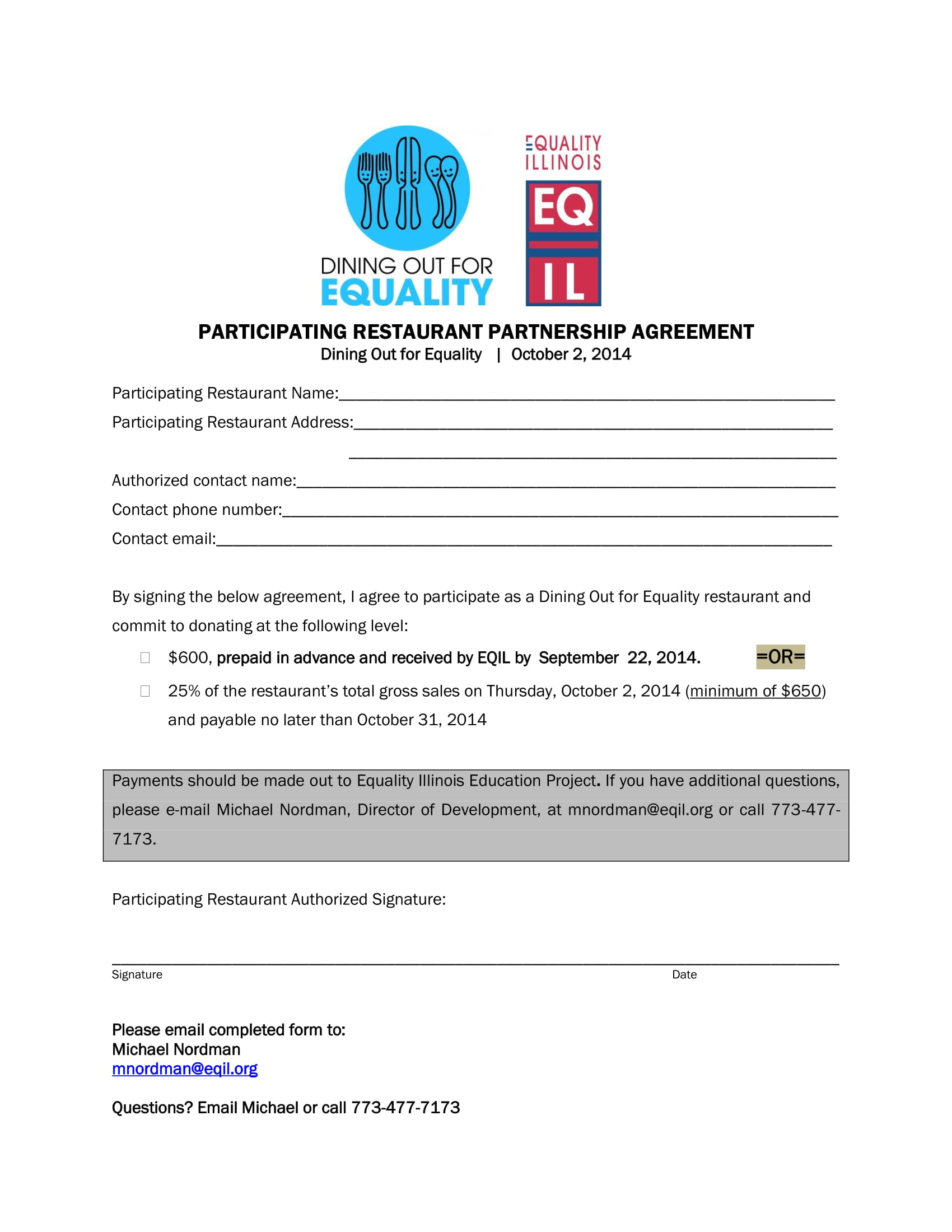restaurant partnership agreement form 1