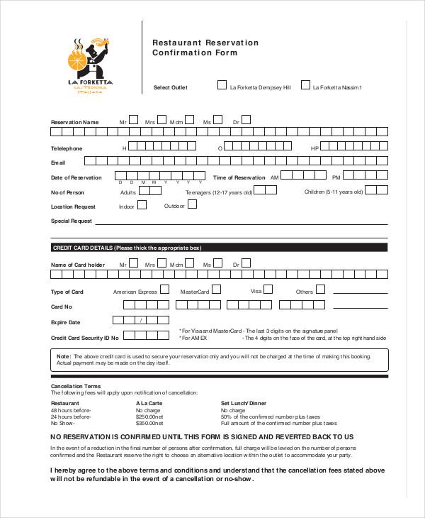 restaurant reservation confirmation form