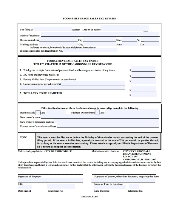 restaurant sales tax form