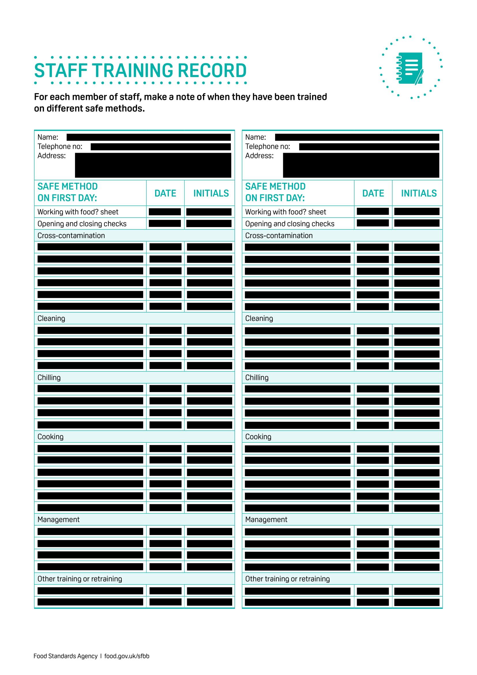 restaurant staff training record form 1