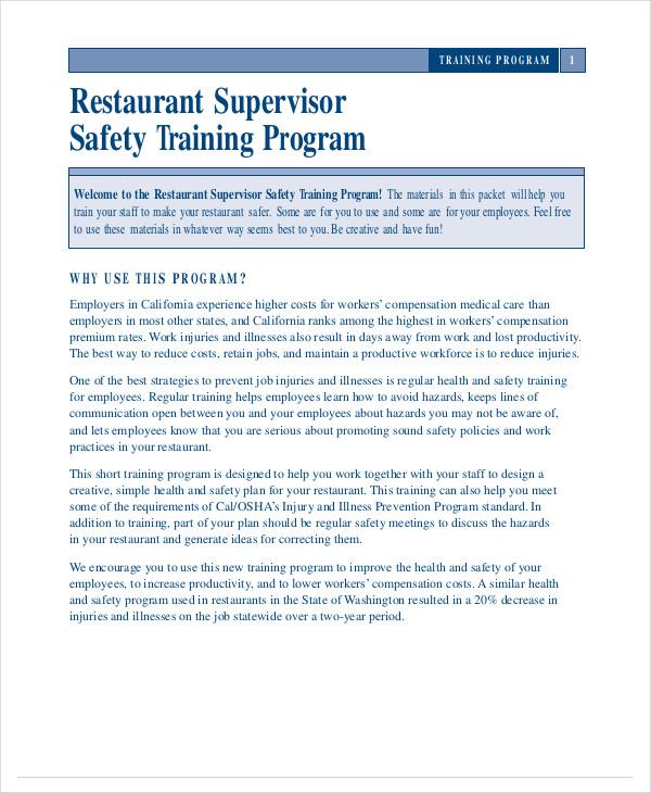 restaurant supervisor ssafety training form