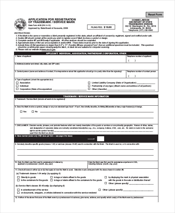 restaurant trademark application form