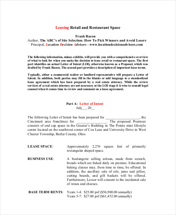 retail and restaurant lease form