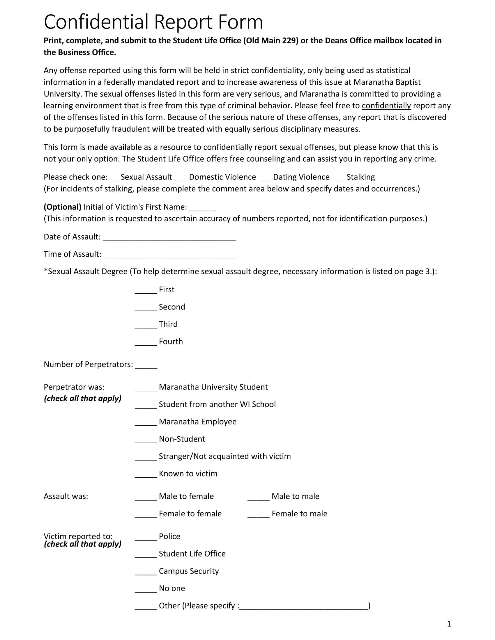 sample confidential report form 1