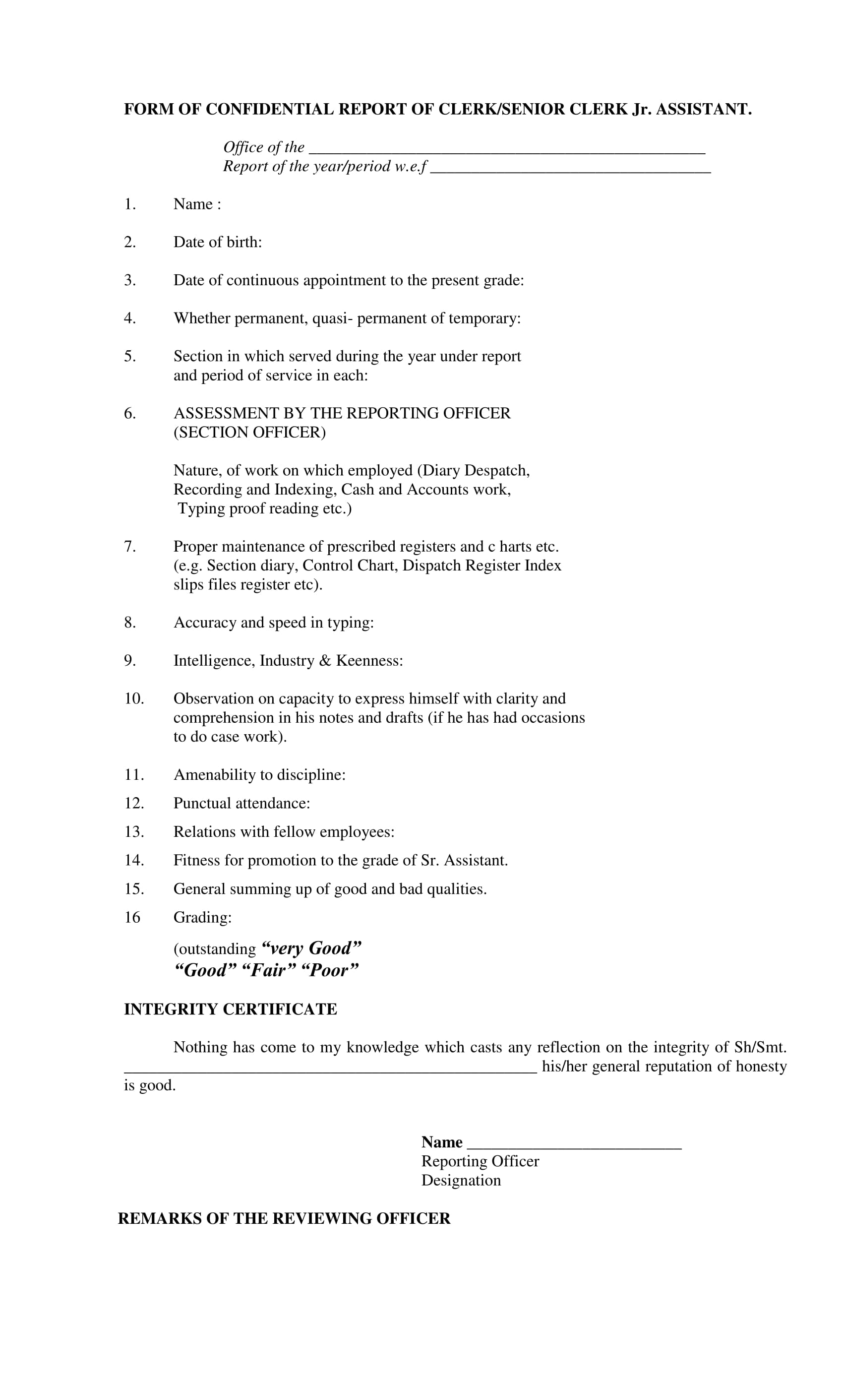 sample form of confidential report 01