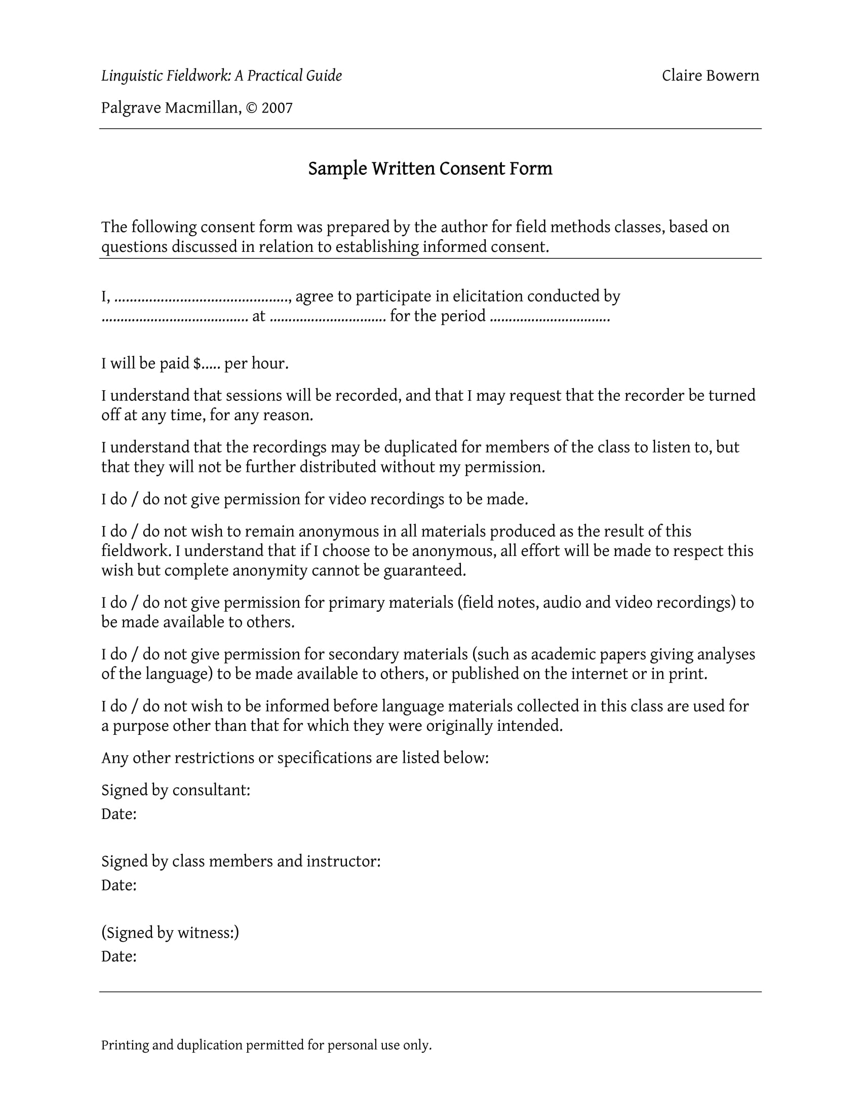 sample written consent form 1