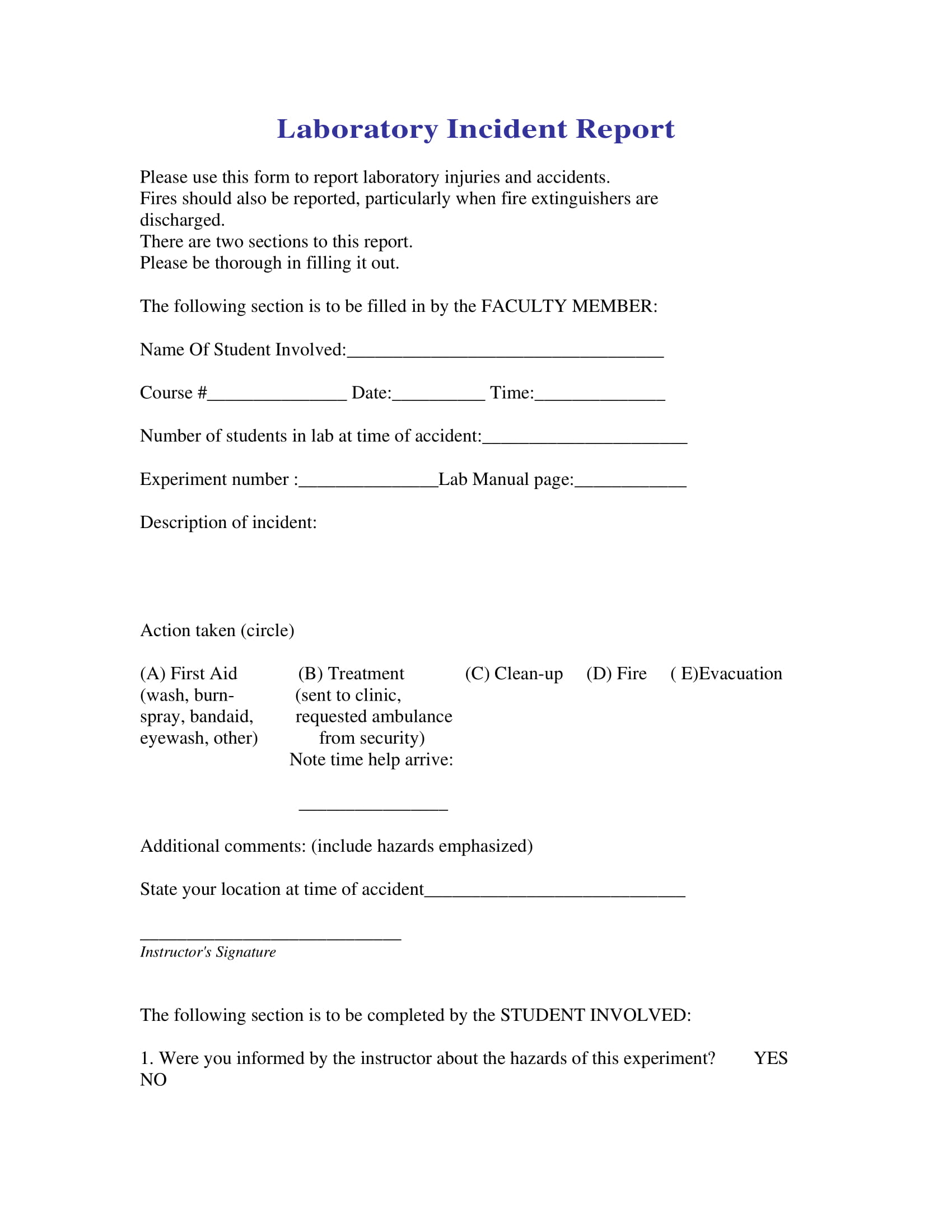 sample for laboratory incident report form 1