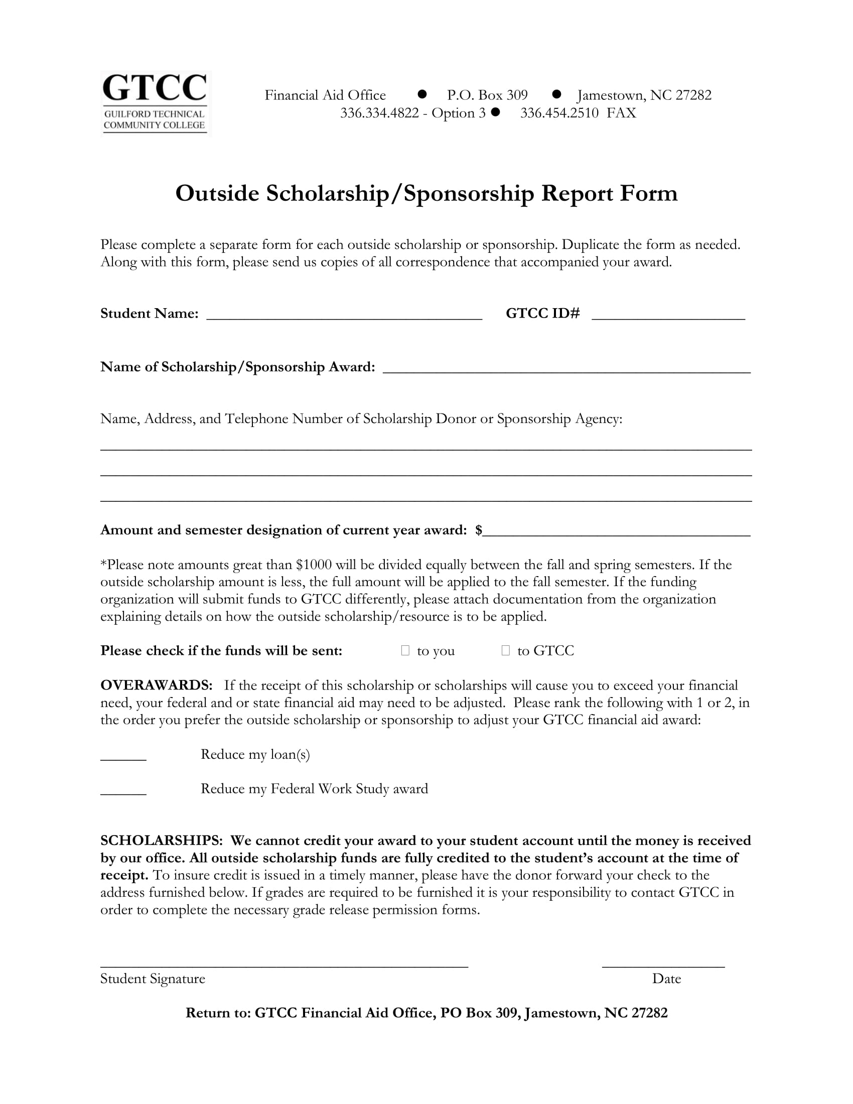 scholarship or sponsorship report form 1