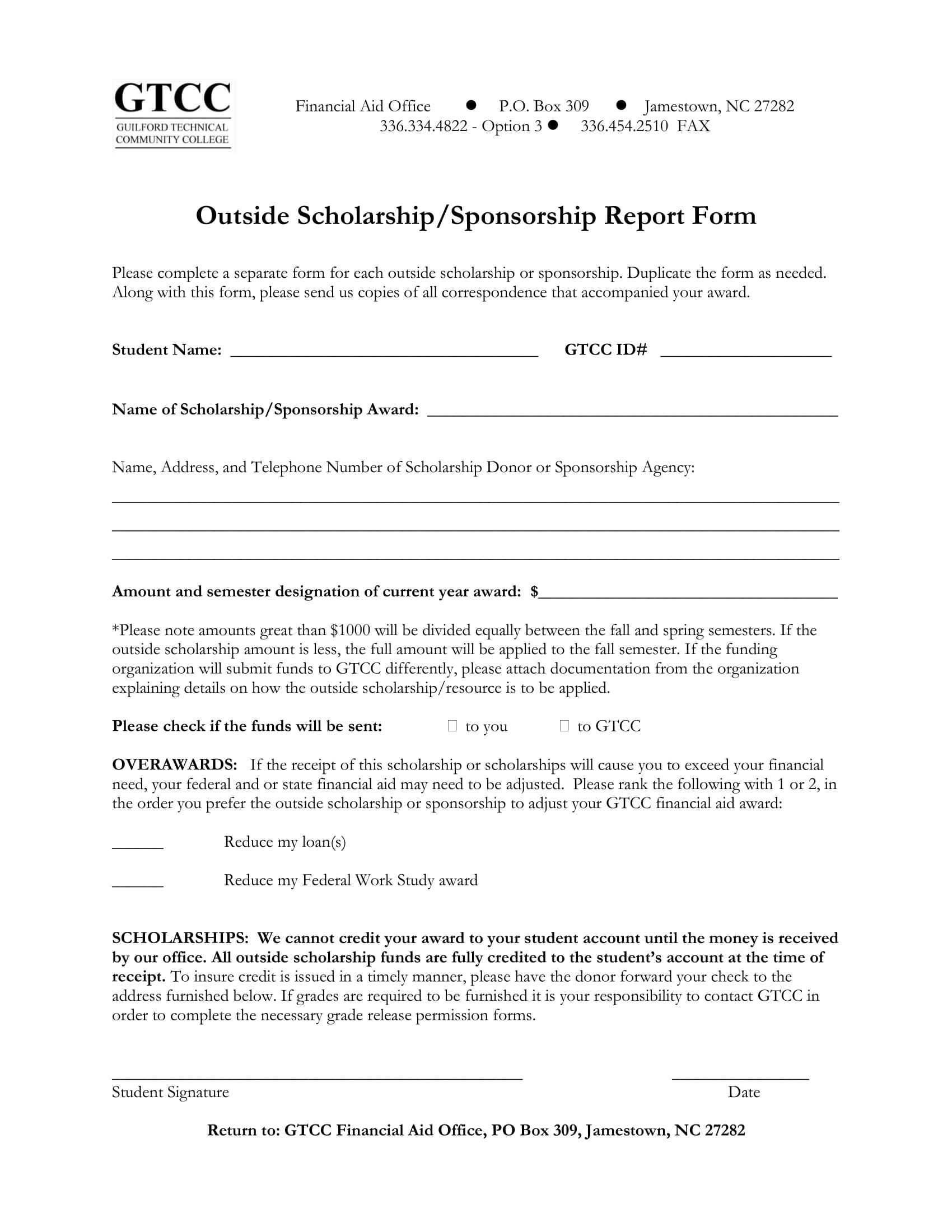 scholarship or sponsorship report form 1