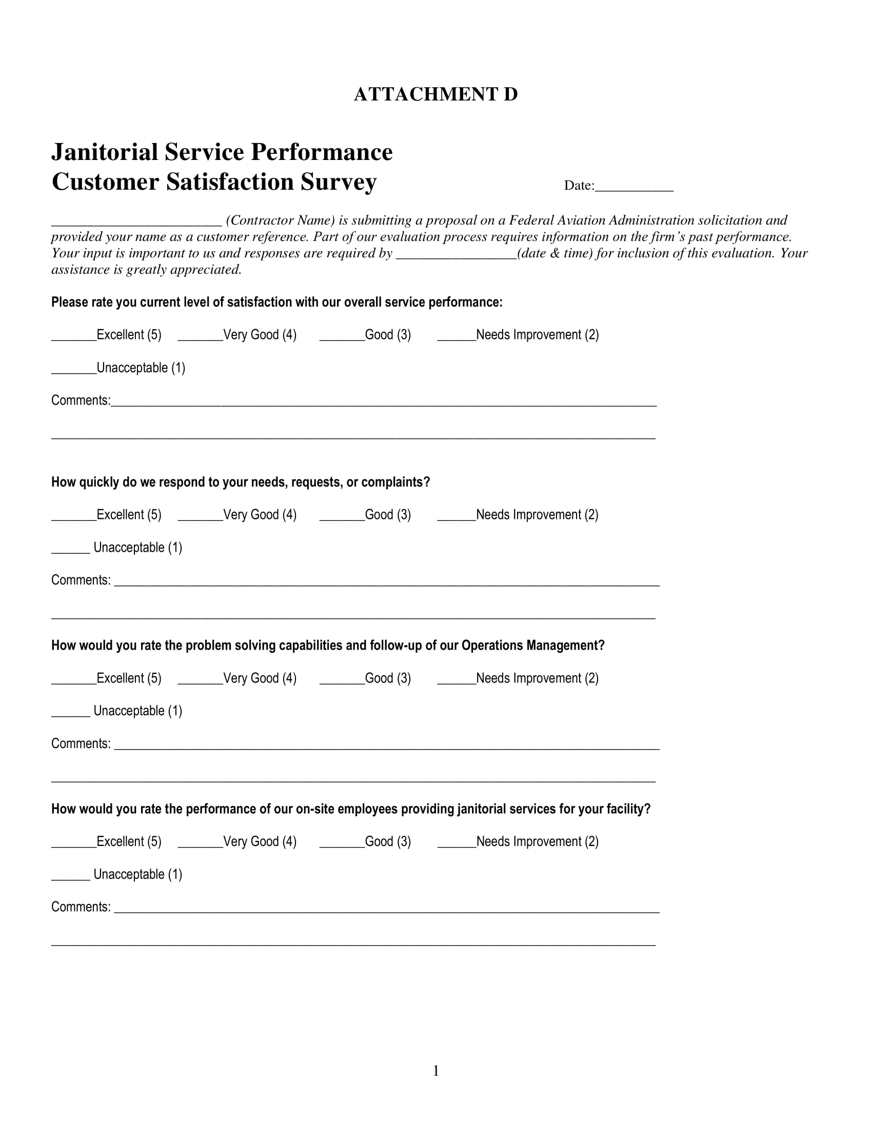 service performance customer satisfaction survey form 1