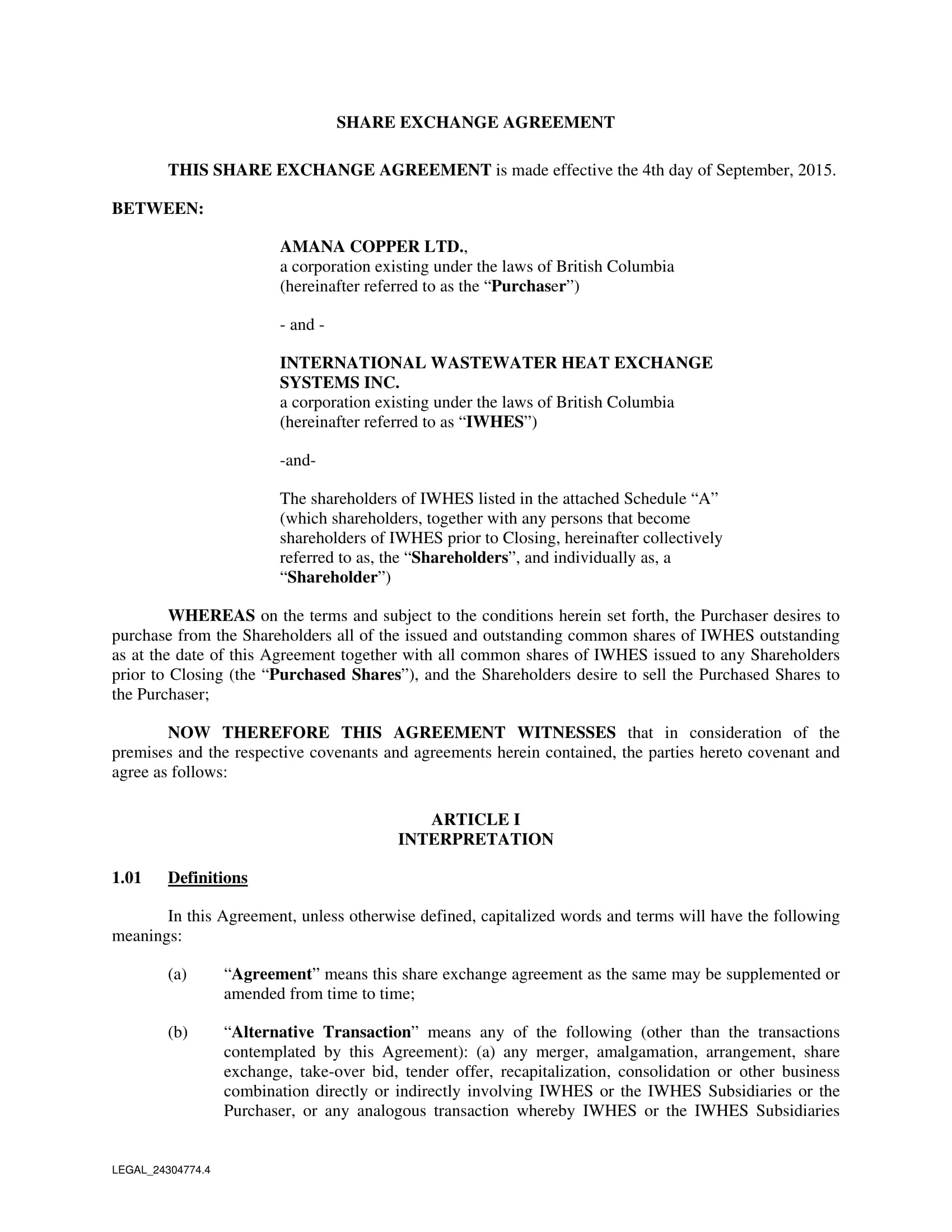 share exchange agreement form 01