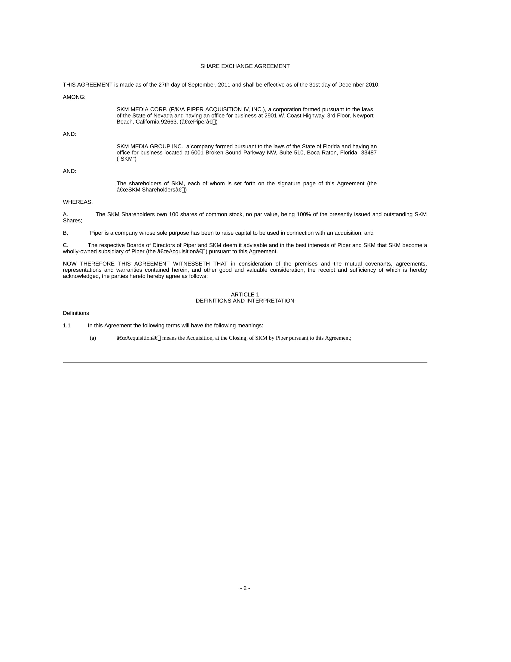 Share Exchange Agreement Template