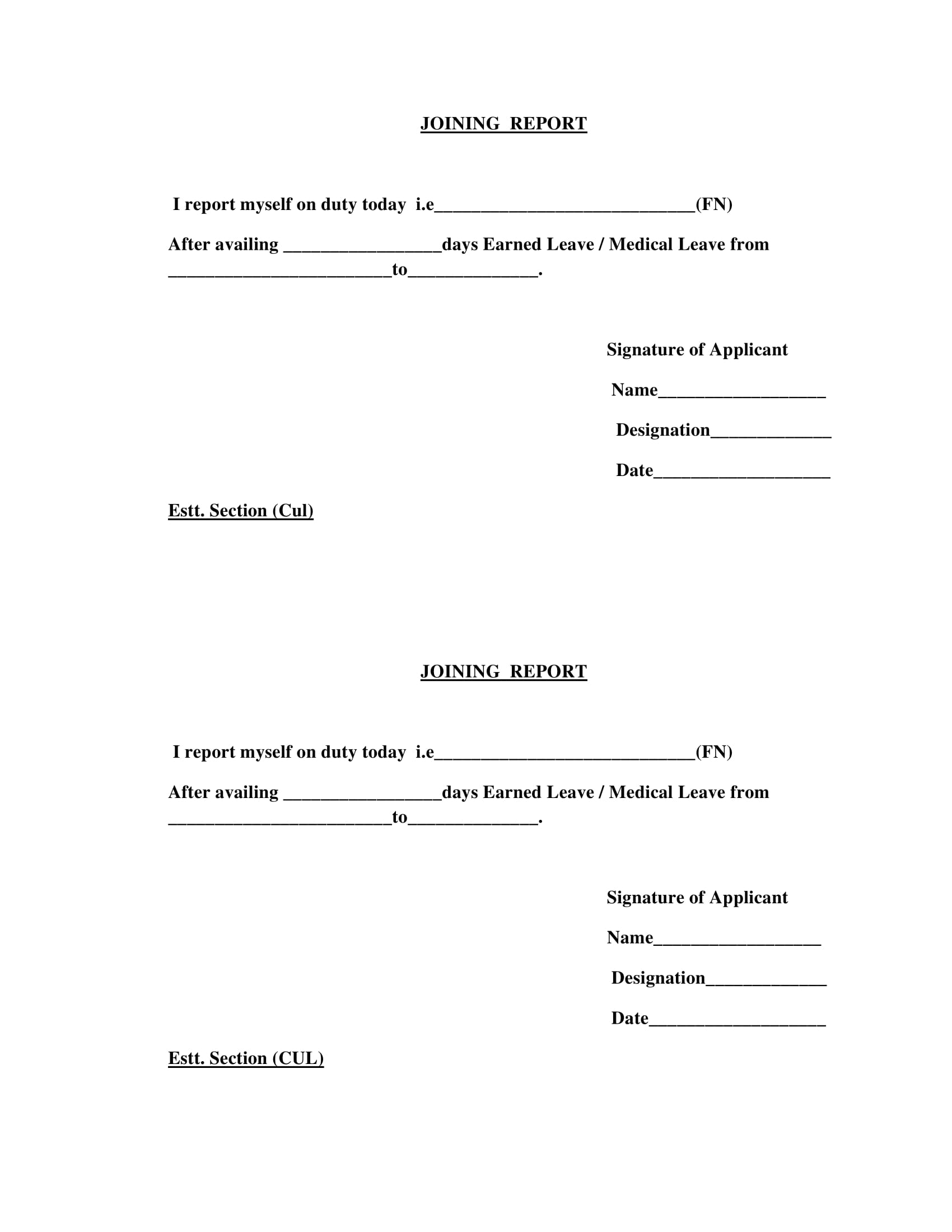 simple joining report form 1