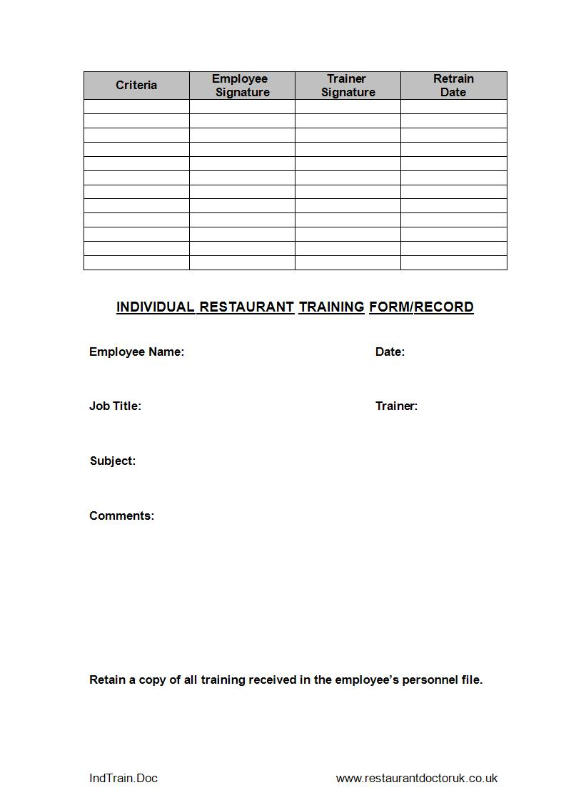 employee training record form