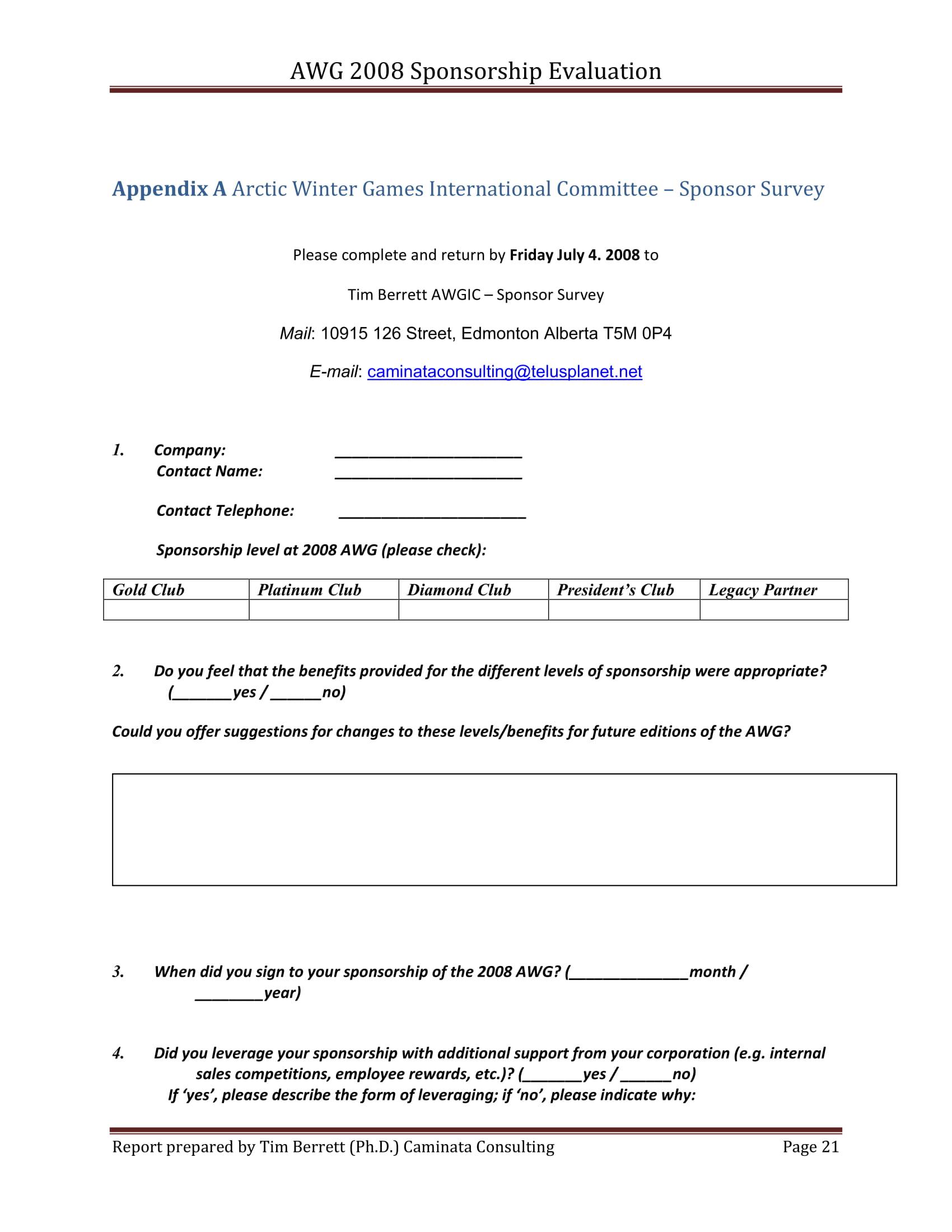 sponsorship evaluation report 22