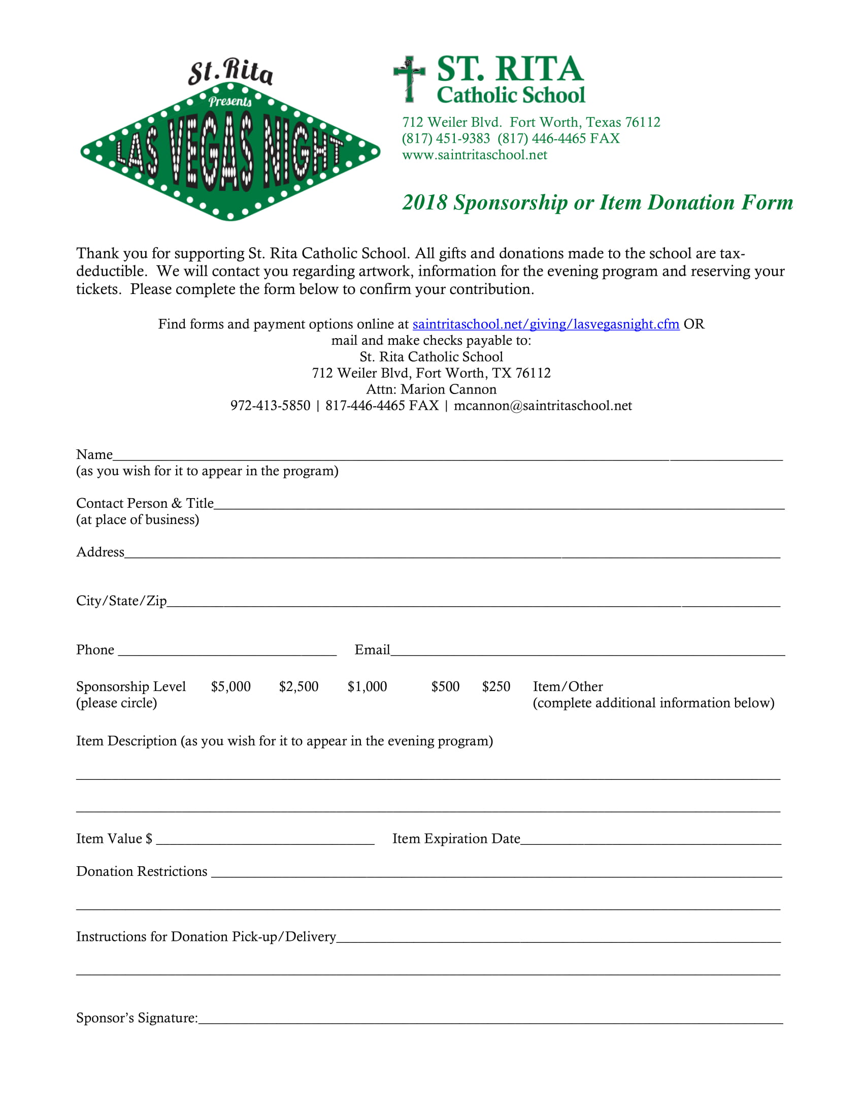 sponsorship item donation form 1