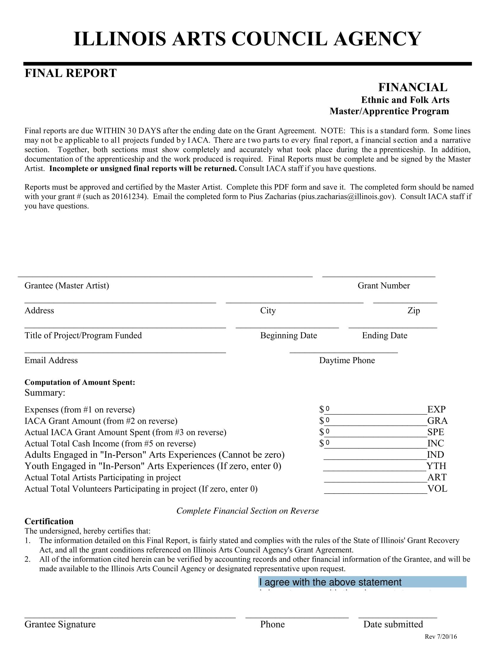 standard final report form 1