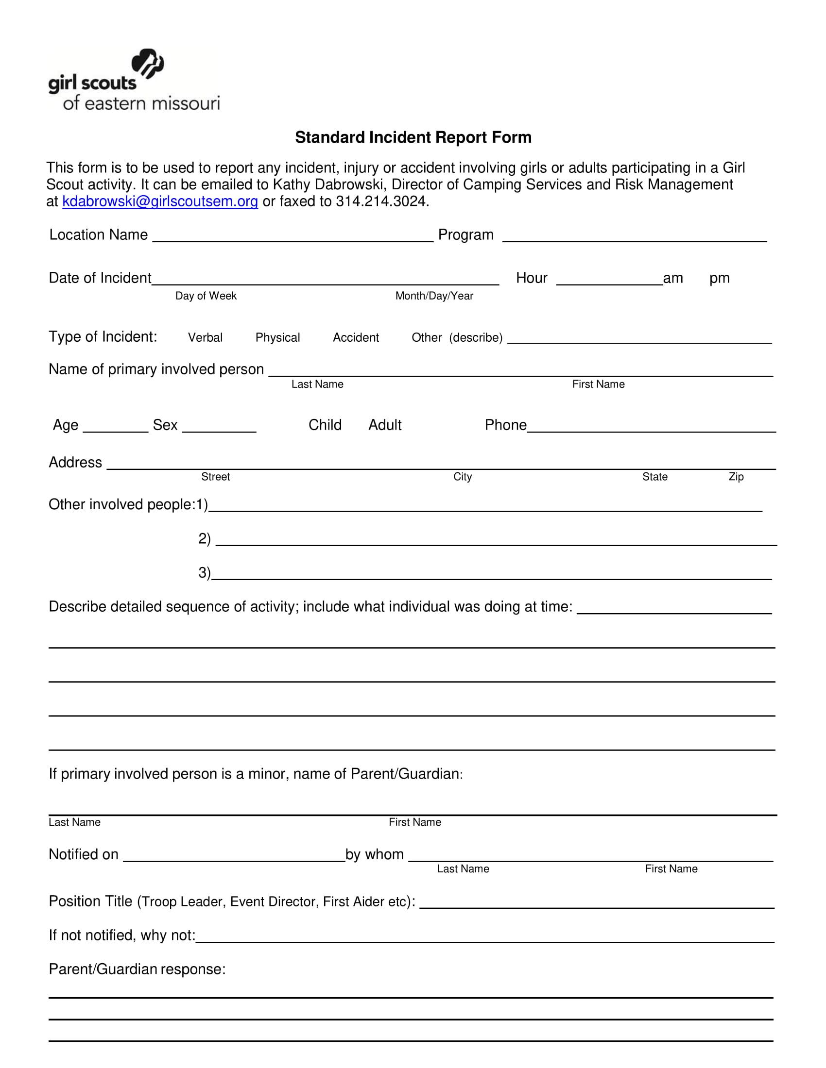 standard incident report form 1