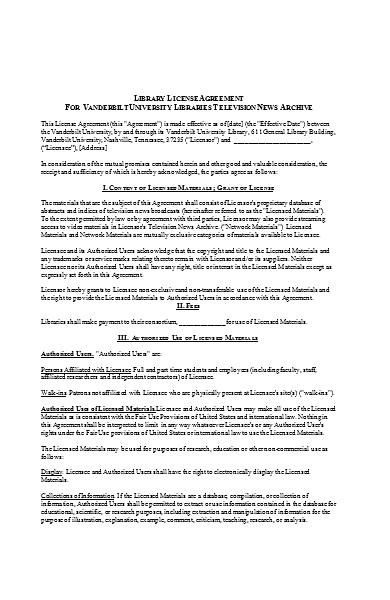 standard license agreement long form