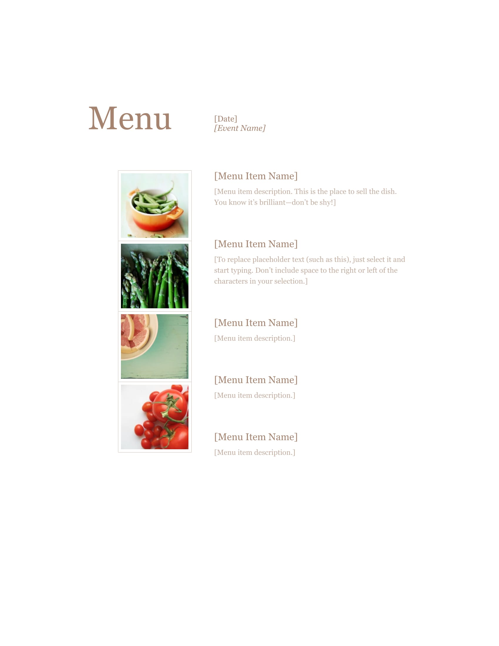 standard restaurant menu form in doc 1