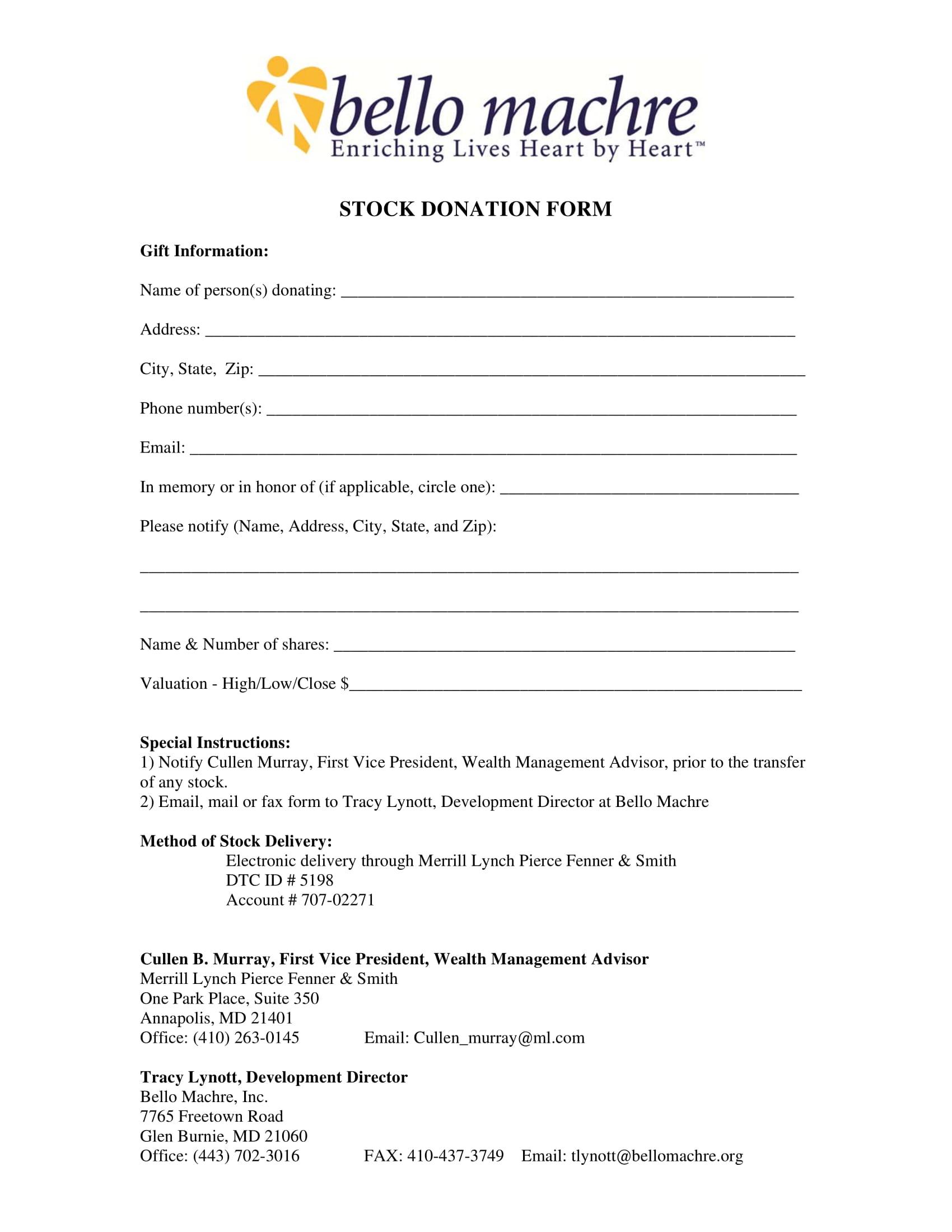 stock donation form 1