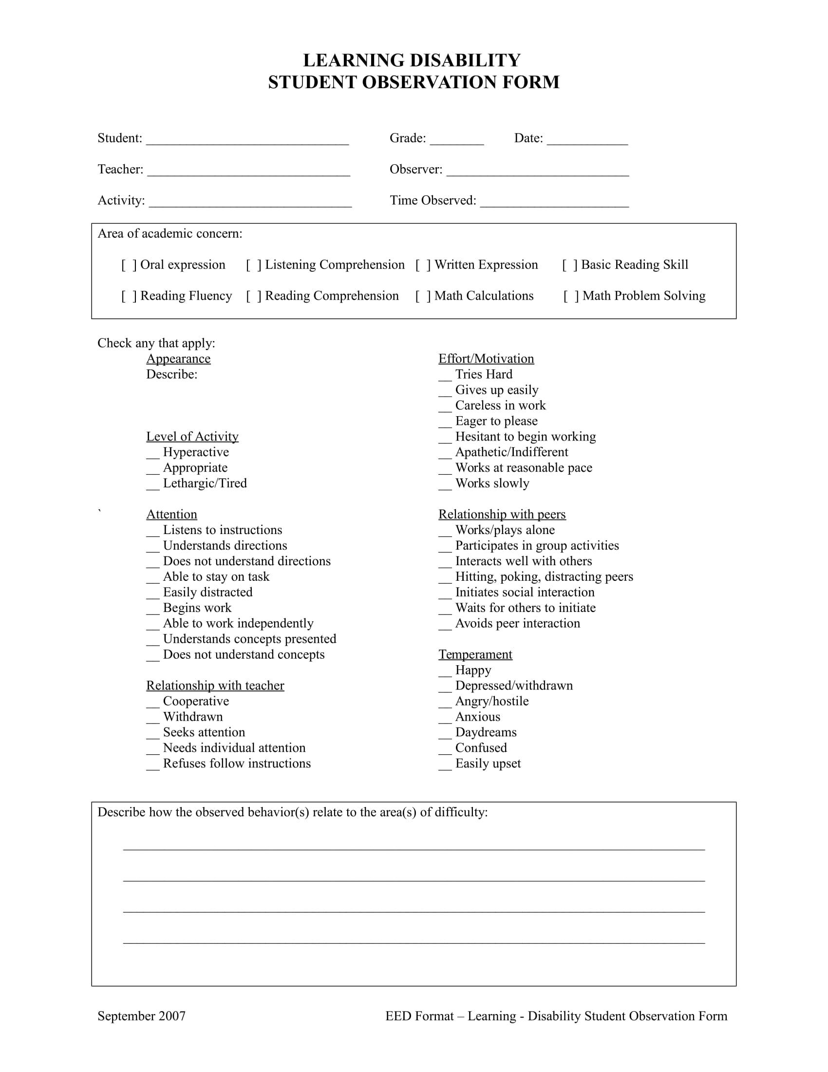 student observation form in doc 1