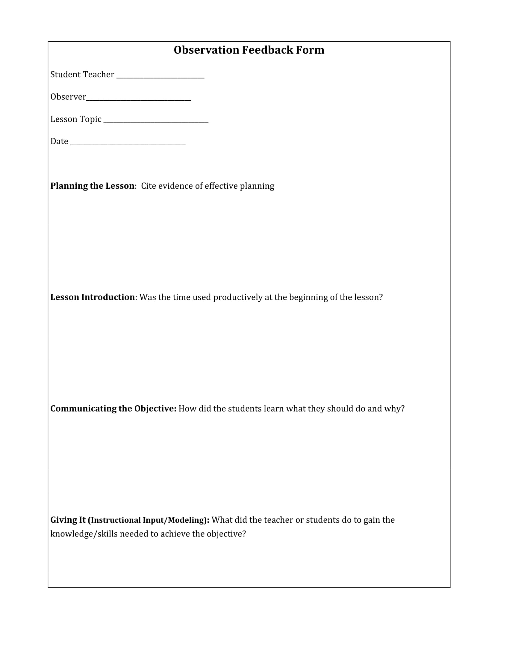 Student Teacher Observation Feedback Form
