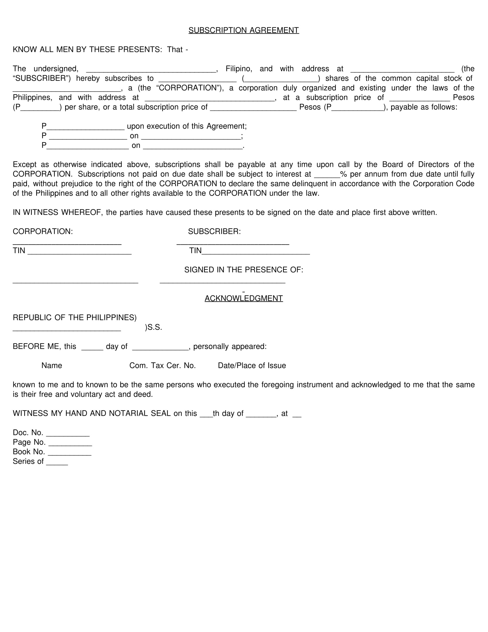 Free 4 Share Subscription Agreement Forms Pdf