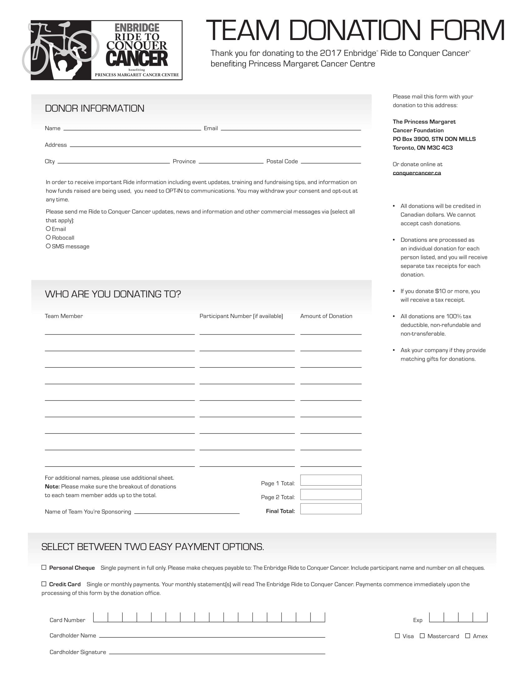 team donation form 1