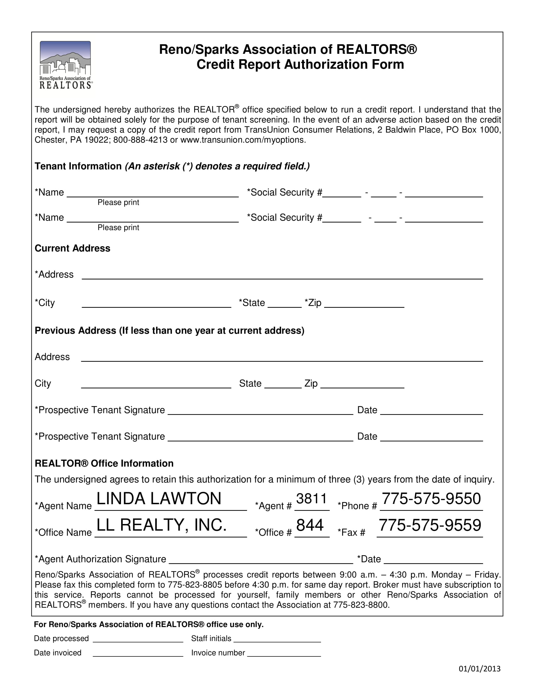 tenant credit report authorization form 1