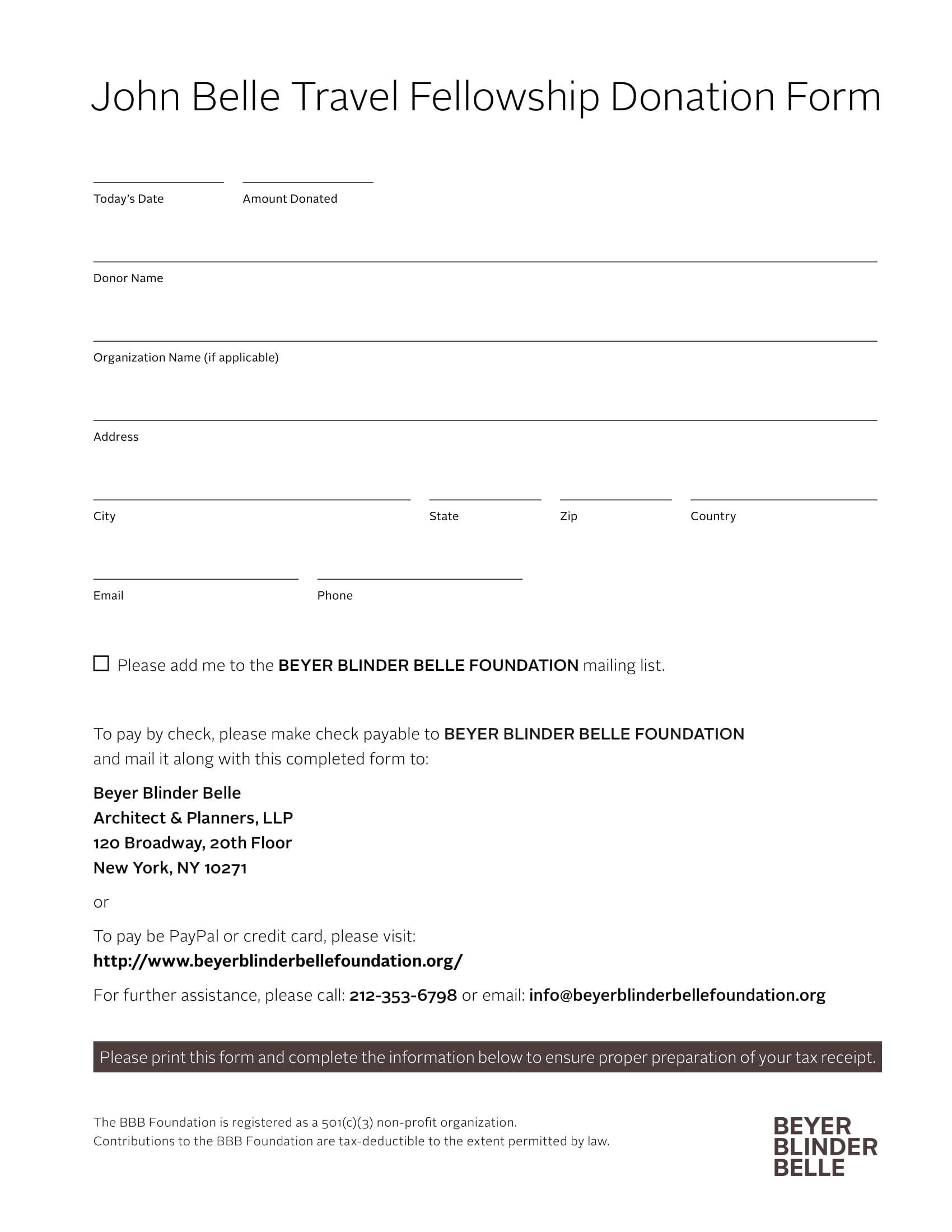 travel fellowship donation form 1