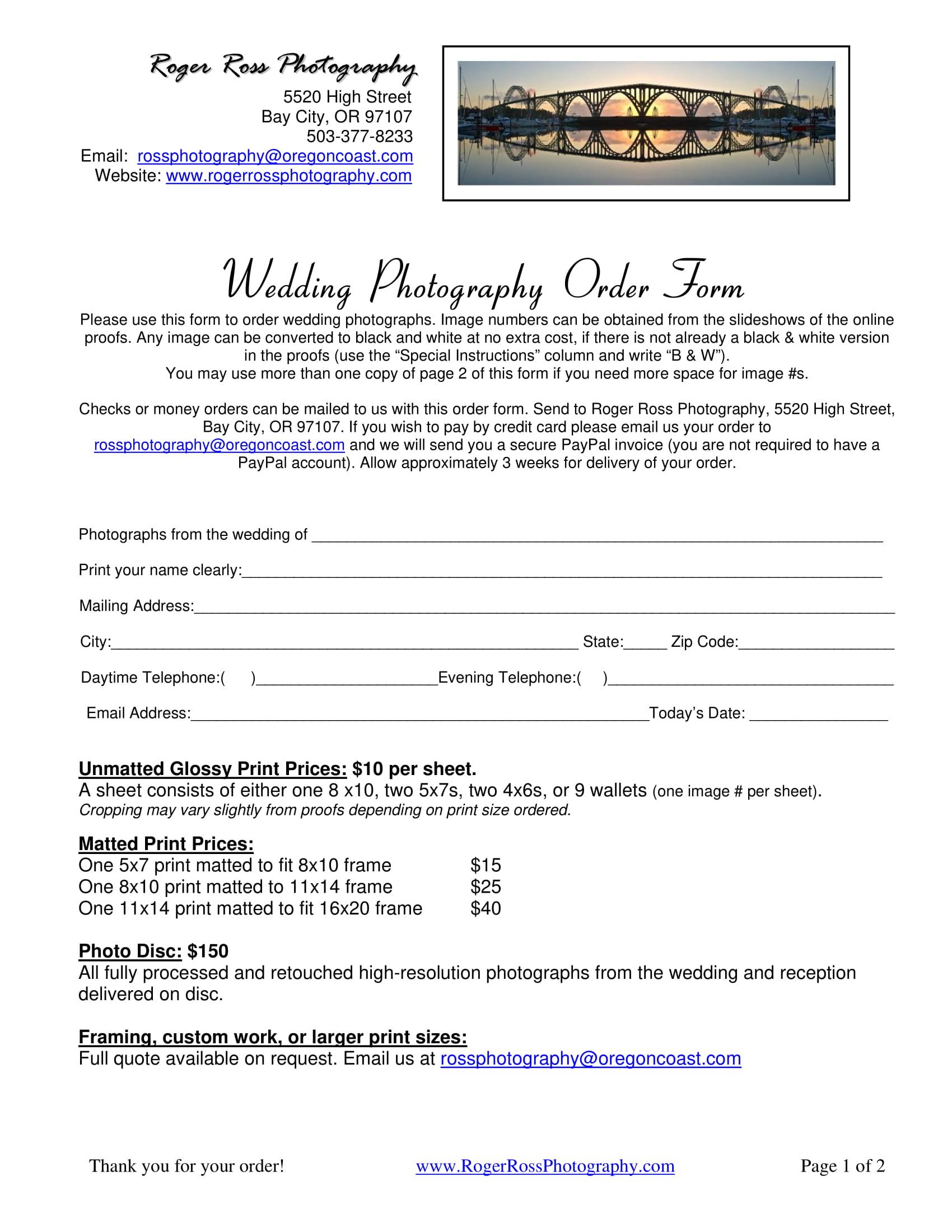 wedding photography order form 1