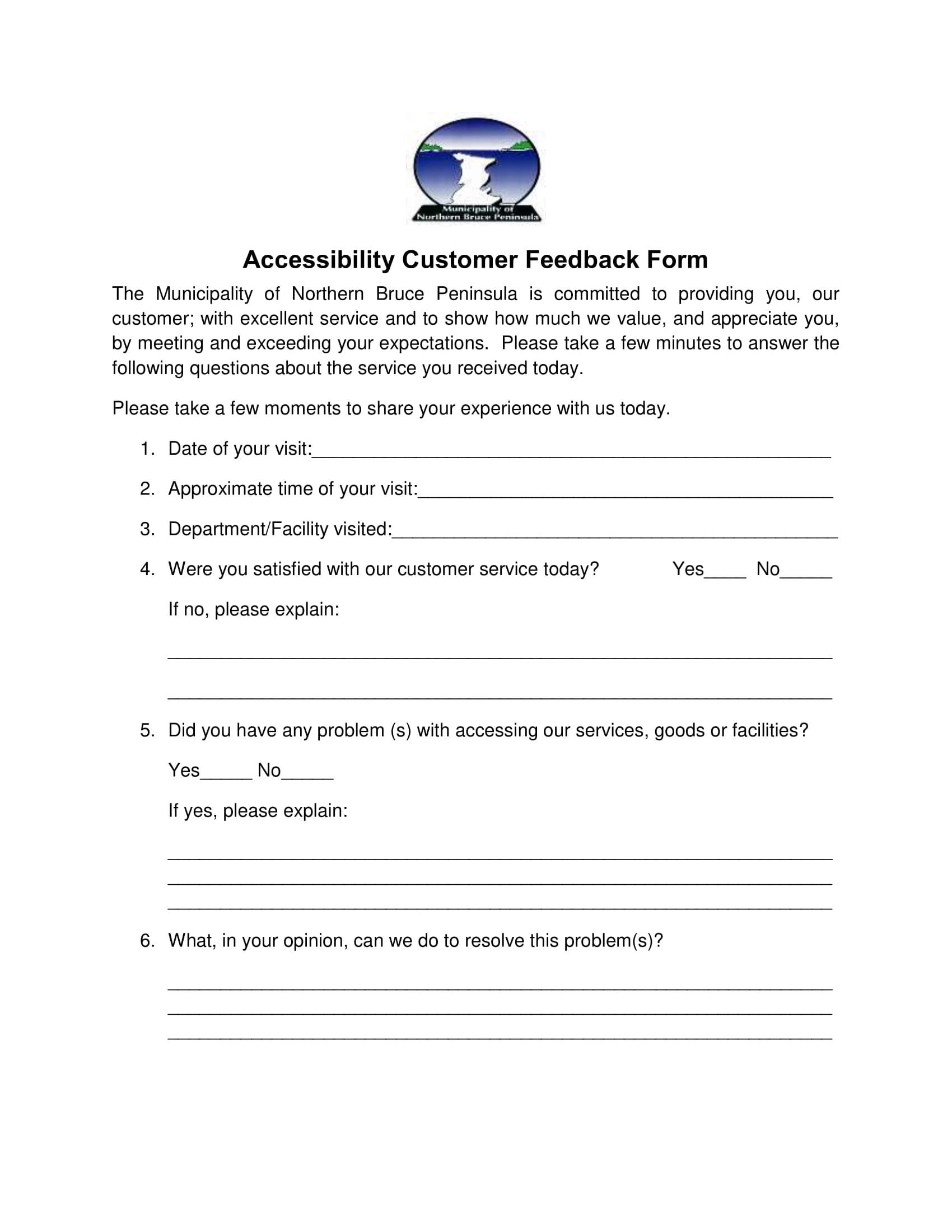 accessibility customer feedback form 1