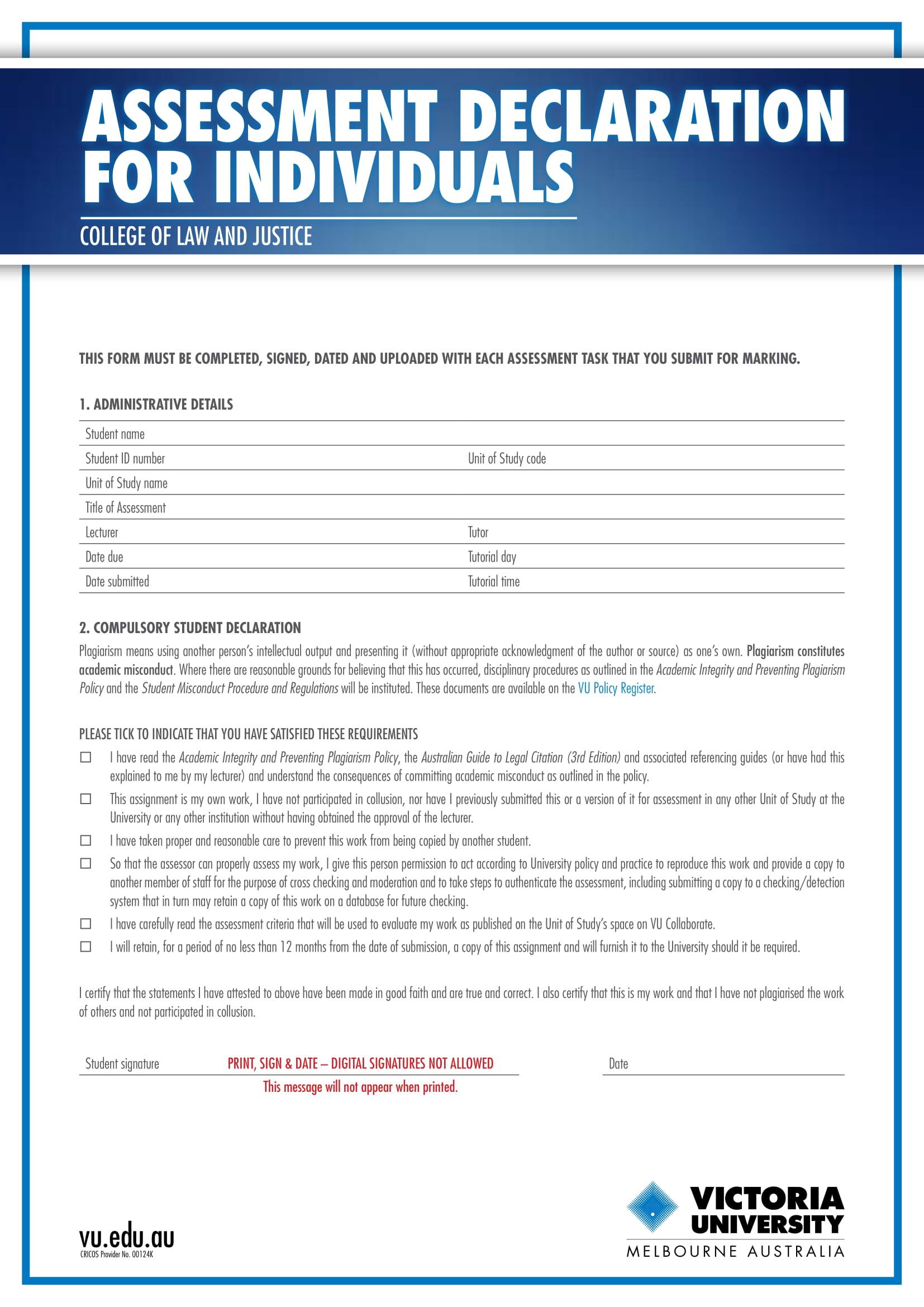 assessment declaration for individuals 1