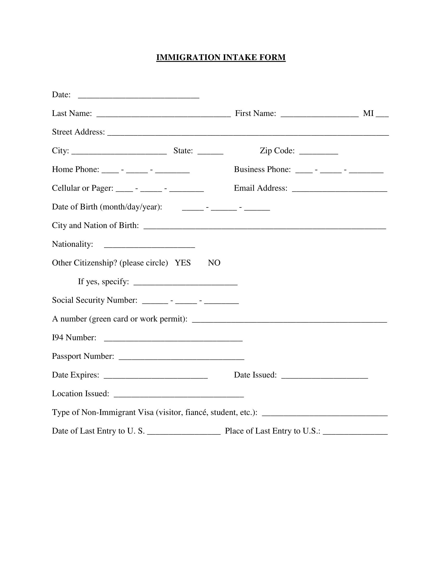 basic immigration intake form 1