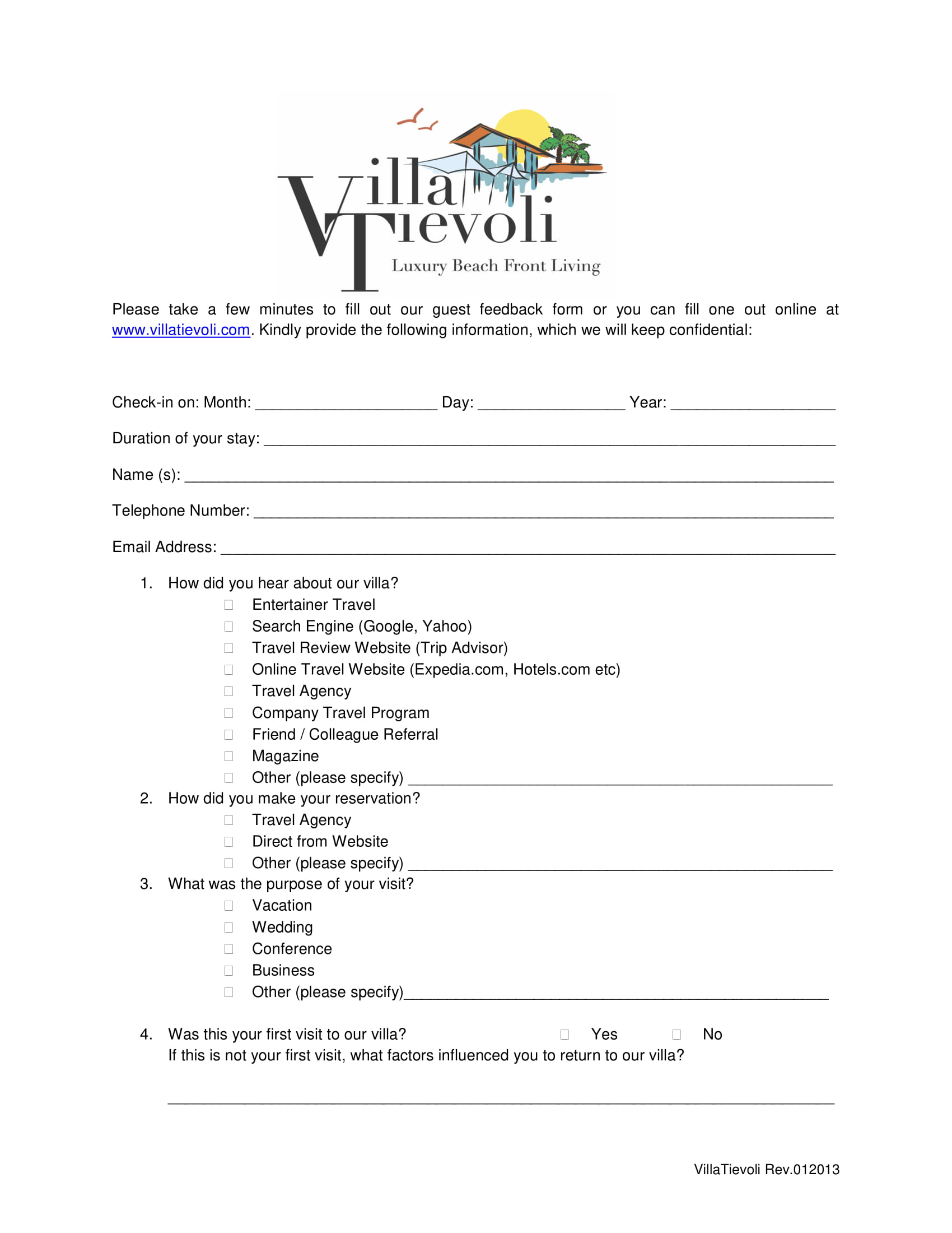 15 Customer And Guest Feedback Forms Pdf