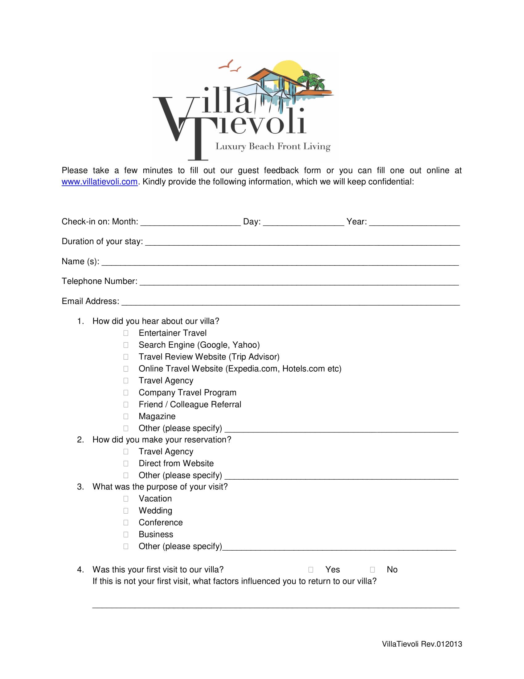 beach guest feedback form 1