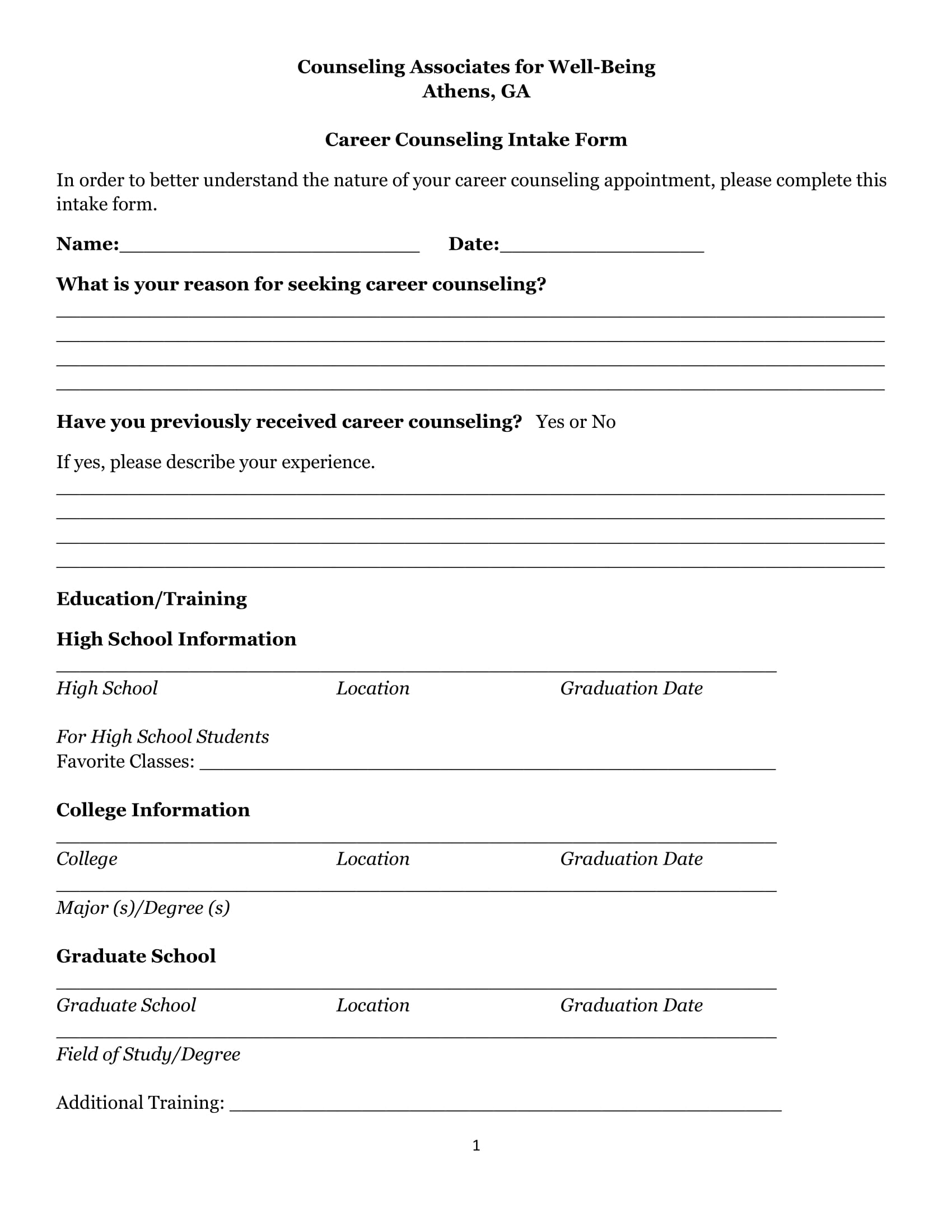 career counseling intake form 1